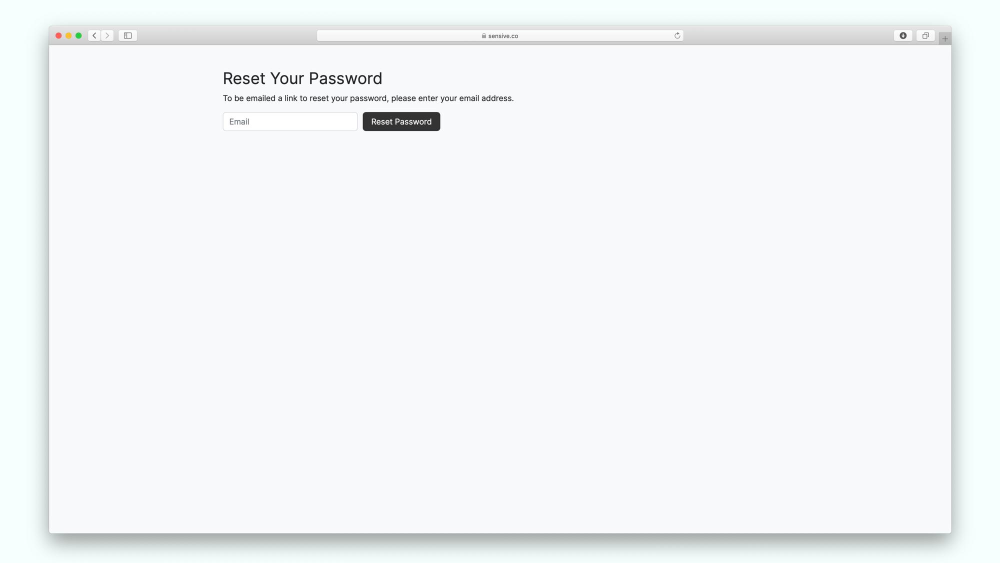 Password reset screen