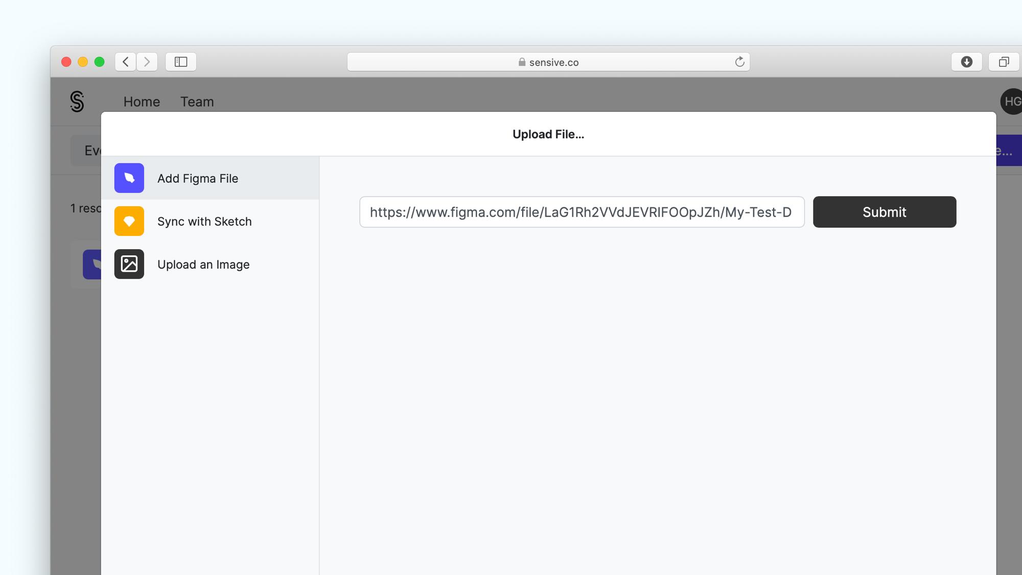 Figma share file modal