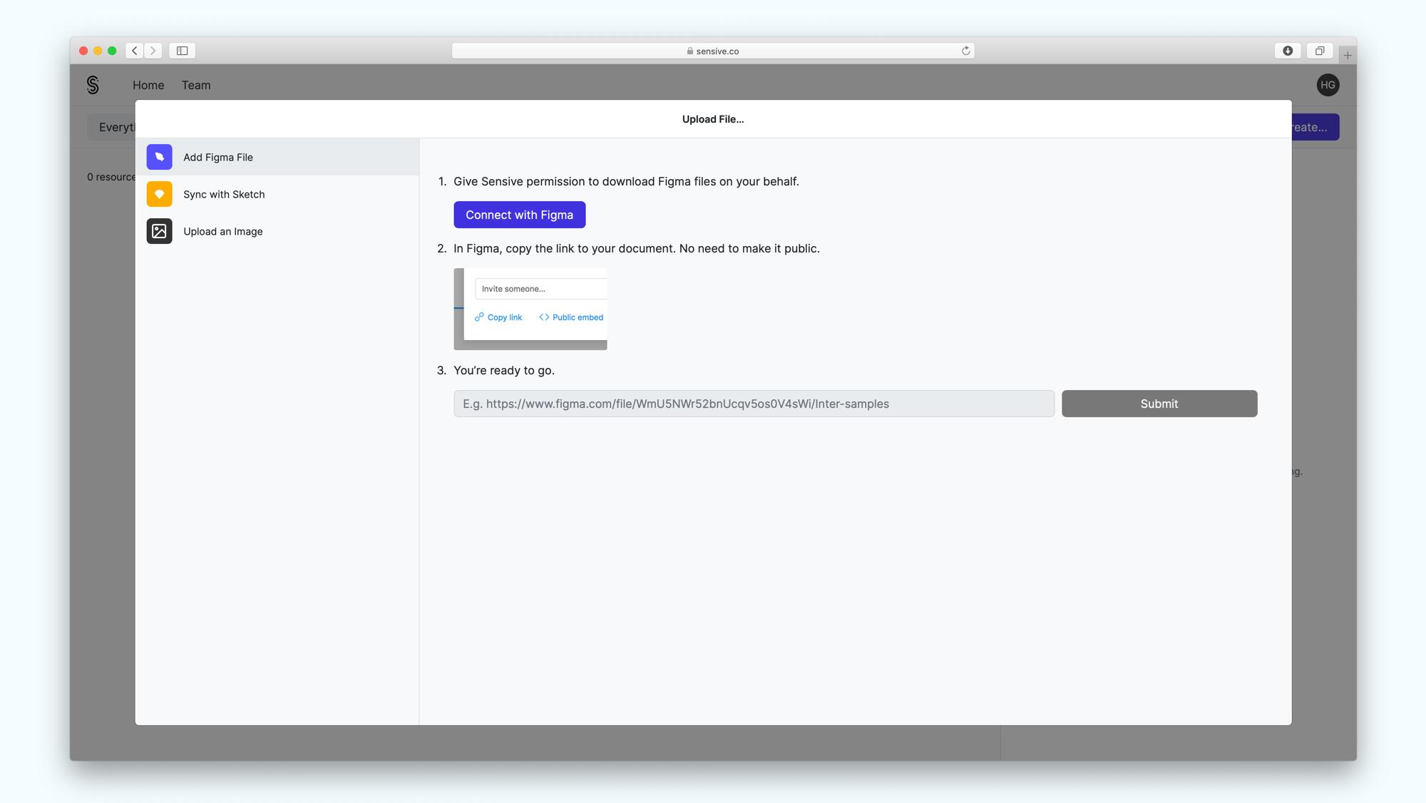 Sensive add file modal